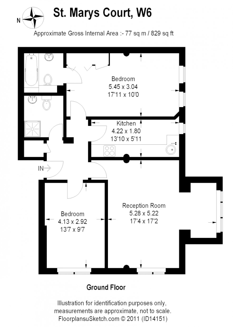 Floorplan for St Mary's Court, Stamford Brook Road, London